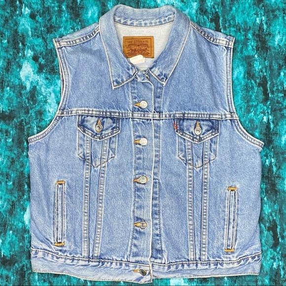 Vintage Levi's Denim Vest Women's Large Blue Jean